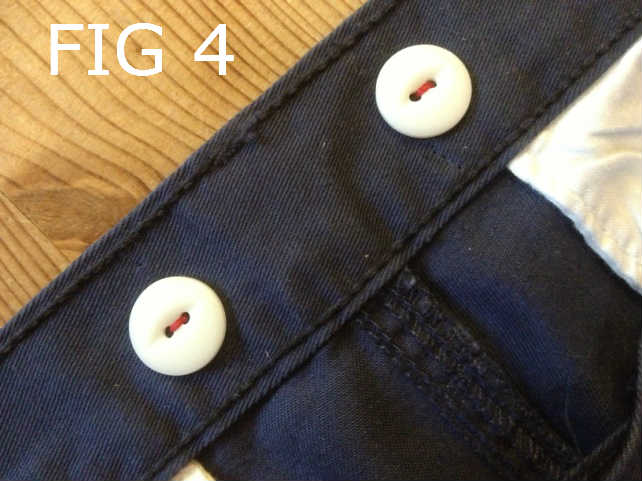 Back buttons on pants for suspenders / braces