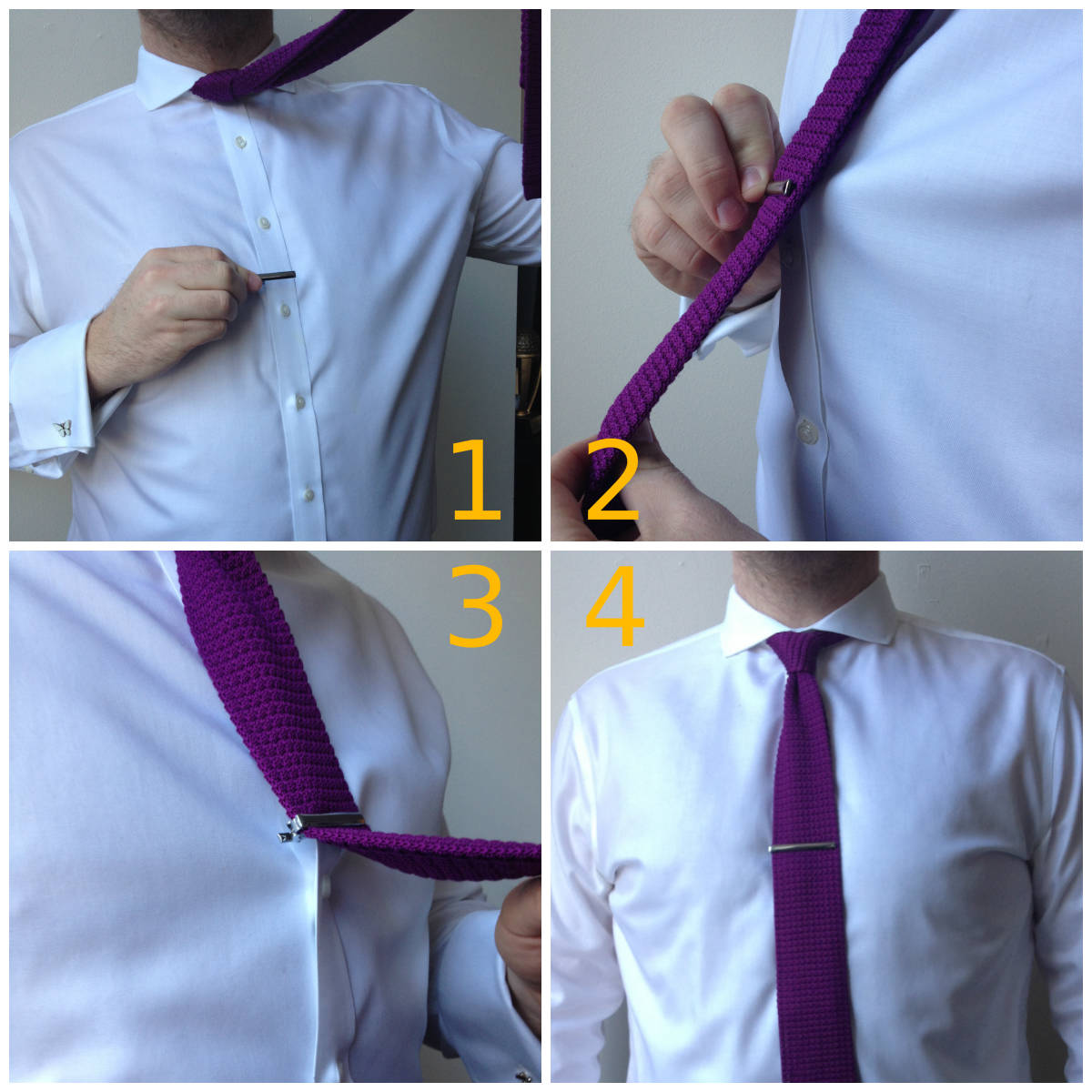 Man attaching tie bar to shirt and tie