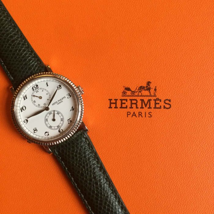 Green Hermes Strap On Orange Hermes Box