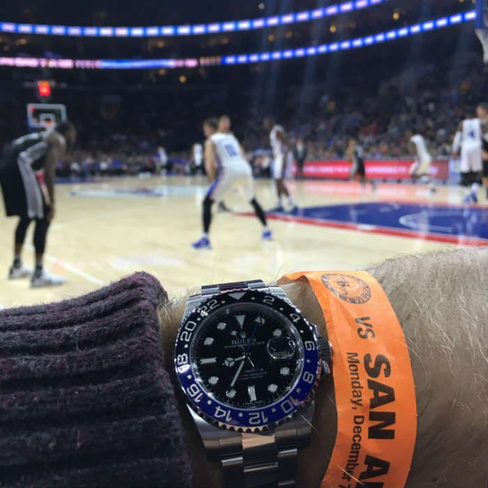 Wearing Rolex Batman At 76ers Basketball