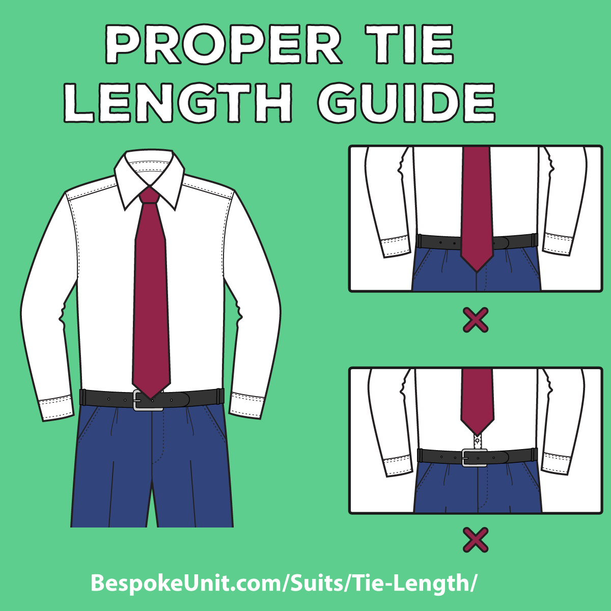 Tie length guide learn proper placement to get the correct look ccuart Image collections