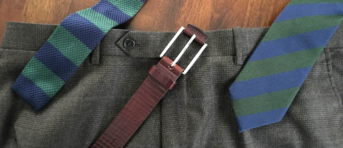 Trouser waistband with belt and tie