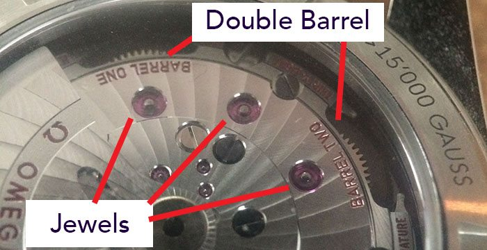 double barrel watch and jewels on movement