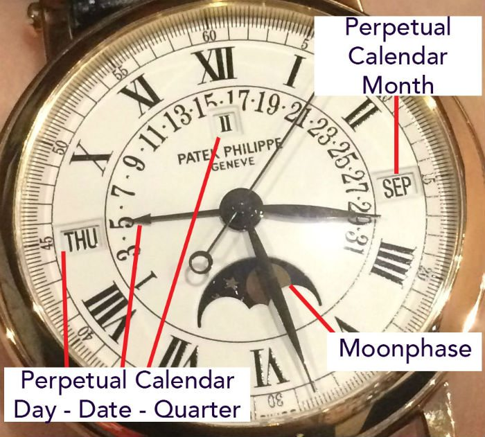 moonphase and perpetual calendar on a patek philippe