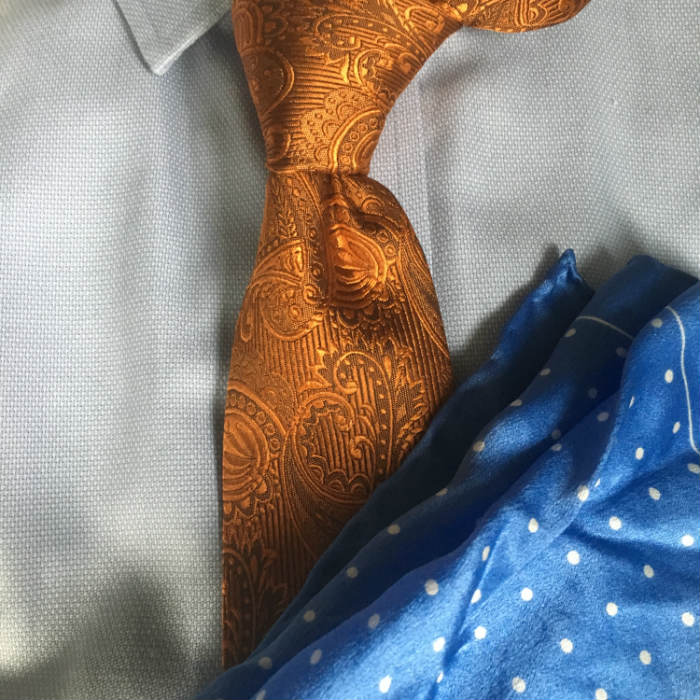 Orange Tie With Blue Pocket Square