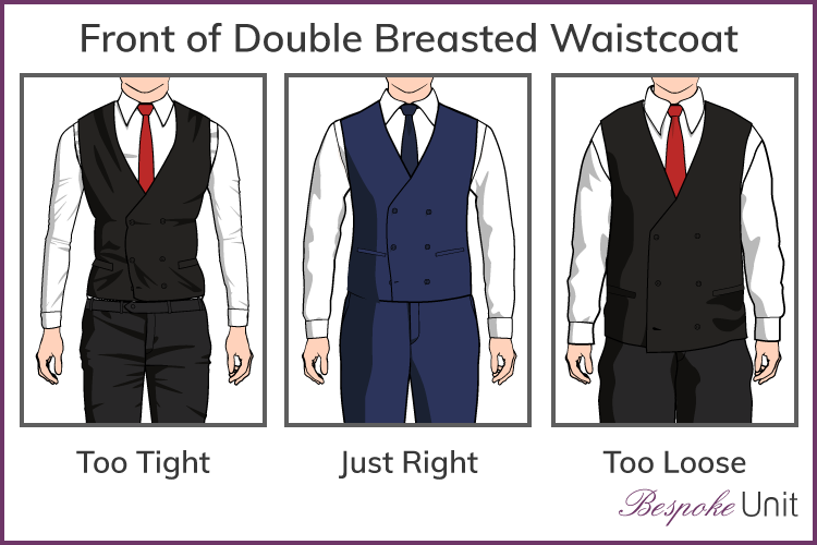 Three fits of double breasted vest