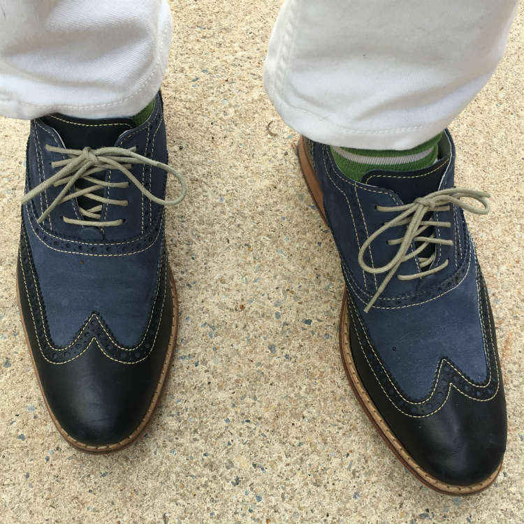 Blue WIngtips With White Jeans