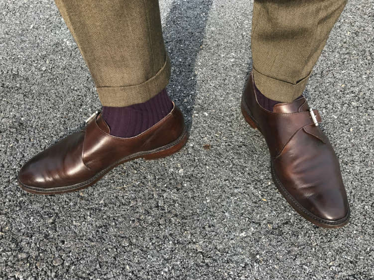 Dark Brown Monkstrap Shoe With Herringbone Trouser