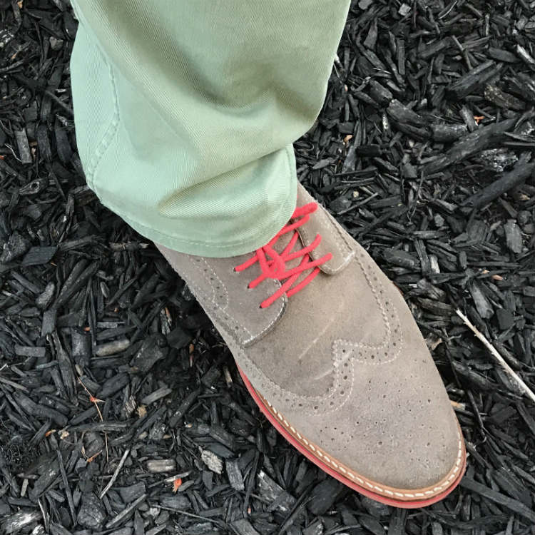 Green Pants With Grey Suede Brogues