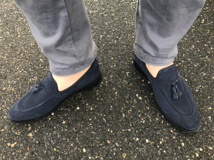 Grey Trousers With Navy Suede Tassel Loafers