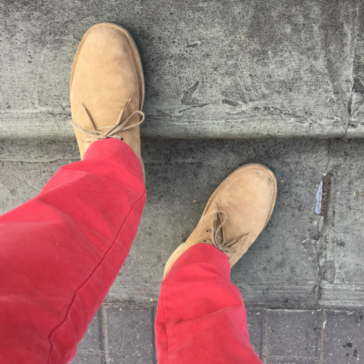 Red Trousers With Tan Suede Boots