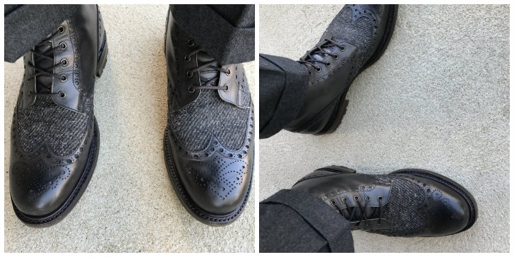 Two Pictures Of Black Boots With Grey Pants