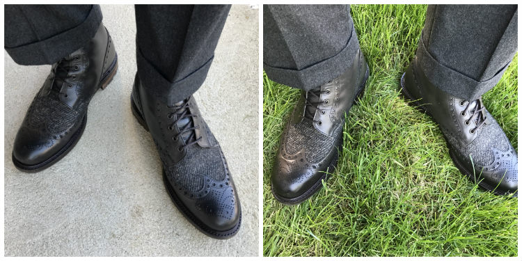 Two Pictures Of Grey Trousers With Black Boots