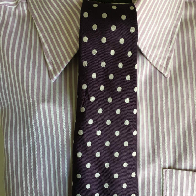 Purple Dot Tie On Lavender Stripe Shirt