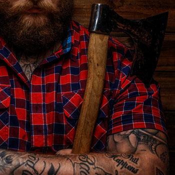 A Rugged Bearded Hipster With Axe July 2017