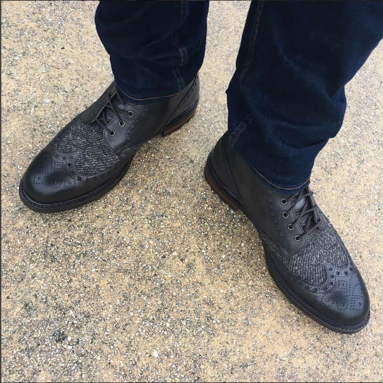 Black Boots With Tweed
