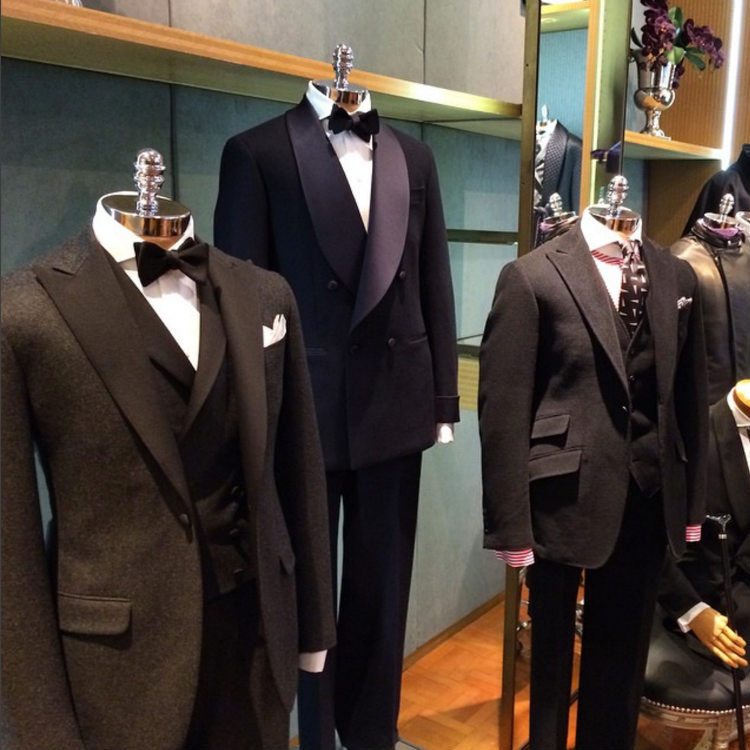 Different Tuxedos on Three Different Mannequins