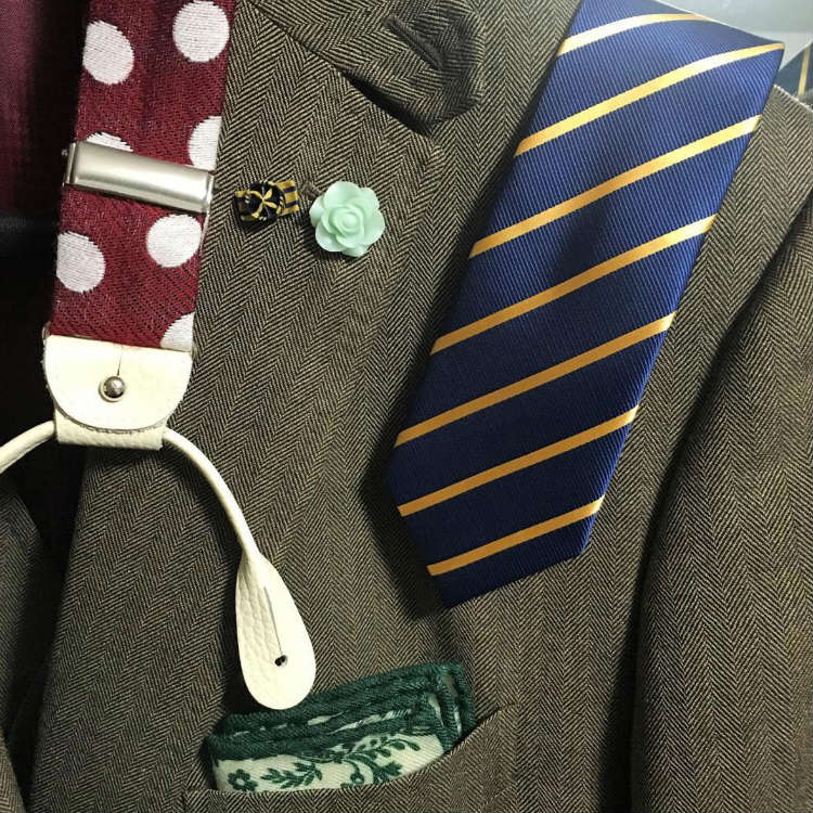 Dotted Suspenders With Striped Tie