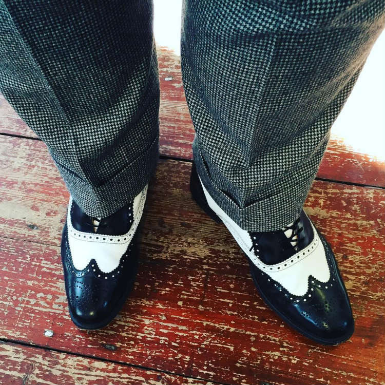 Grey Puppytooth Pants With Black Spectator Shoes