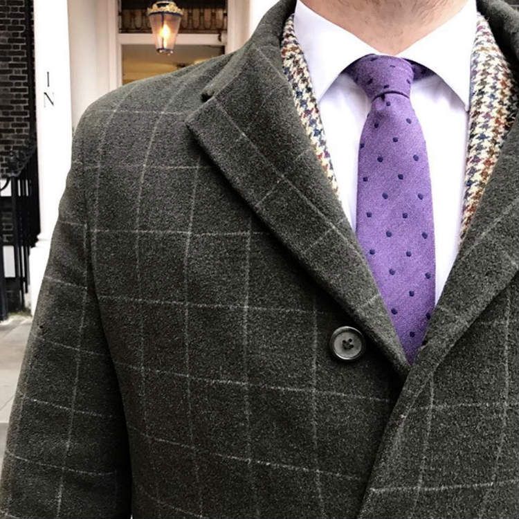 Grey Windowpane Coat With Purple Dot Tie