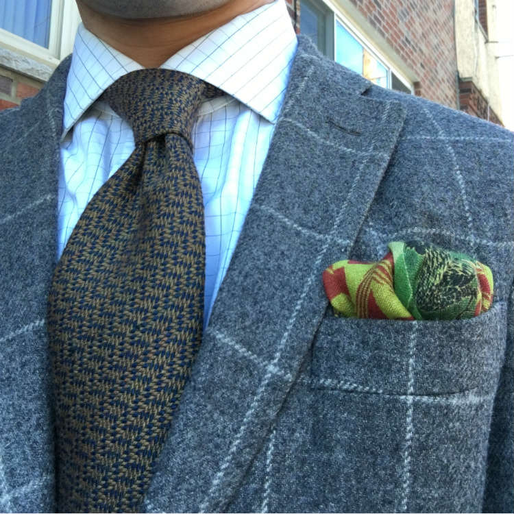 Grey Windowpane Jacket With Brown Tie