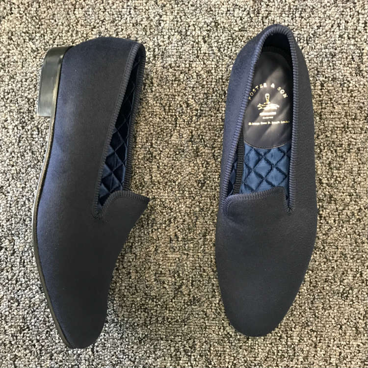 Navy Blue Cashmere Slippers