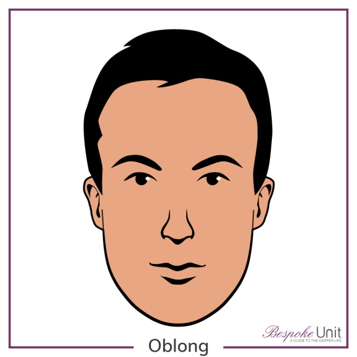 Bespoke Unit's graphic of a man's oblong face shape