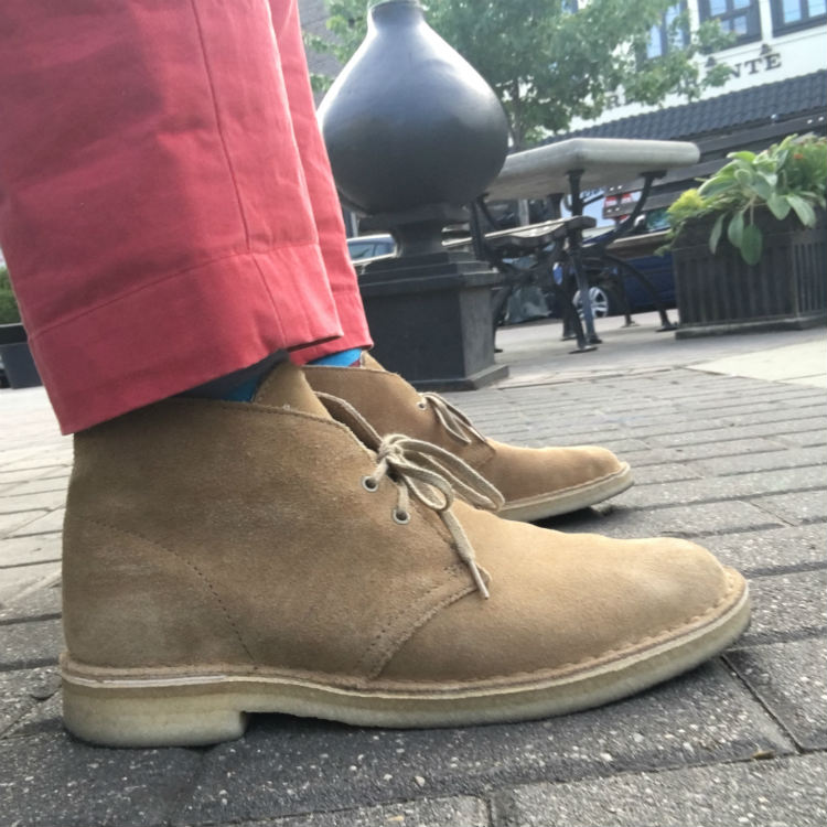 Tan Desert Boots With Red Pants