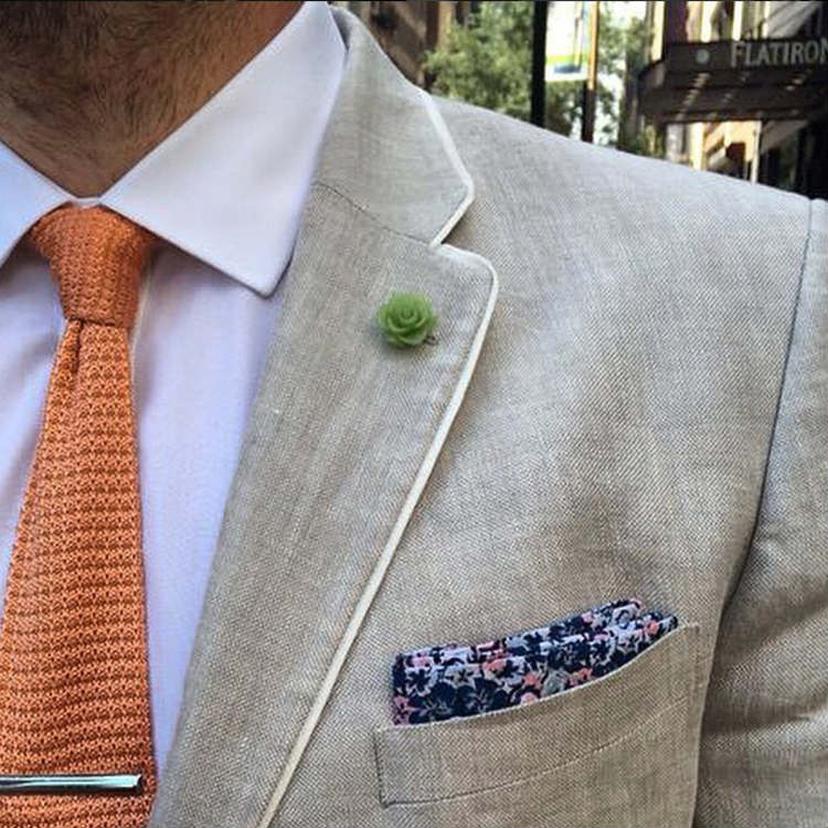 Tan Jacket With Orange Knit Tie