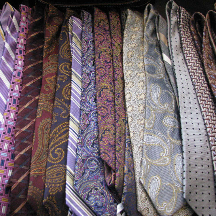 Ties In Various Colors And Patterns