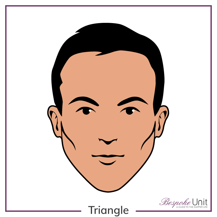 Bespoke Unit's graphic of a man's triangle face shape