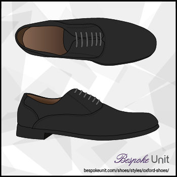 Graphic of Top And Side View Of Black Oxford Shoe