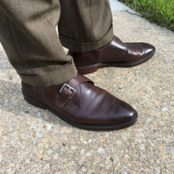 Brown Monkstraps With Olive Trousers
