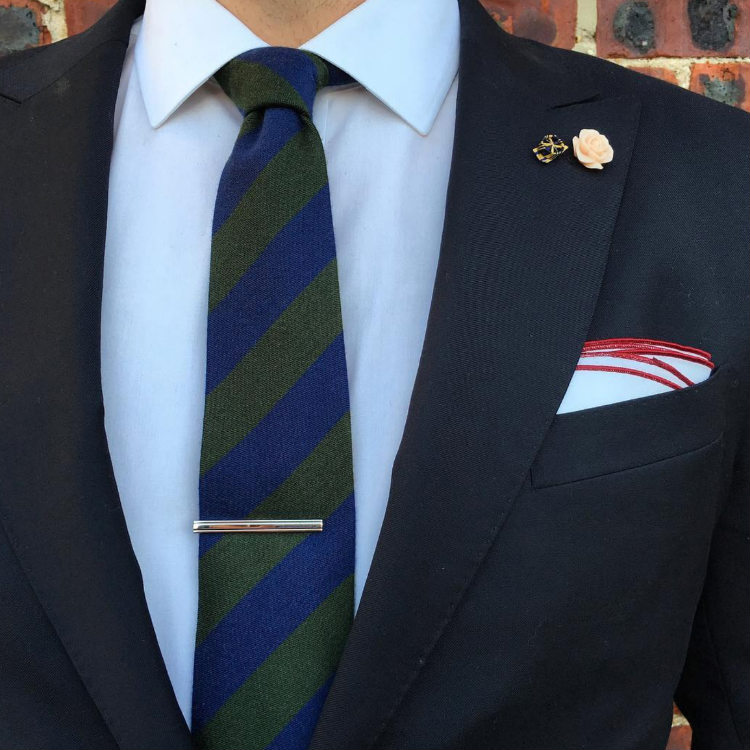 Green Blue Striped Tie With Navy Suit