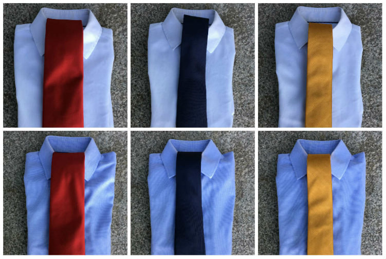 White And Blue Shirts With Various Ties