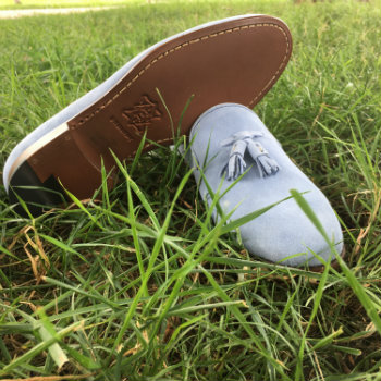 Blue Tassel Loafers On Grass