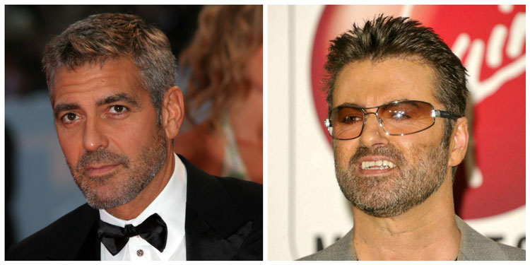 Celebrity Stubble Ideas George Michael & George Clooney