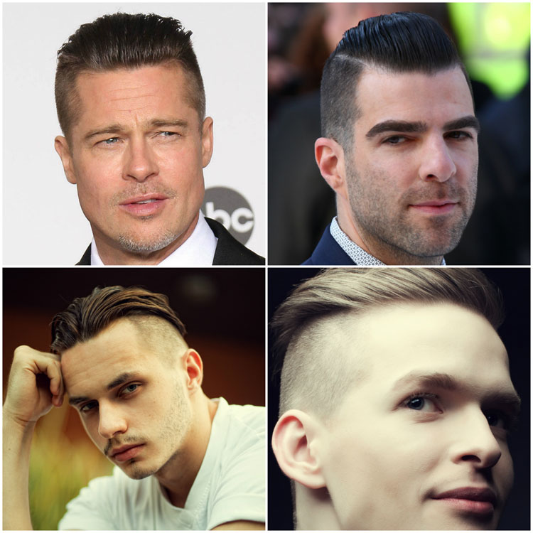 Celebrity Undercut Men Hairstyle Ideas Brad Pitt Zachary Quinto