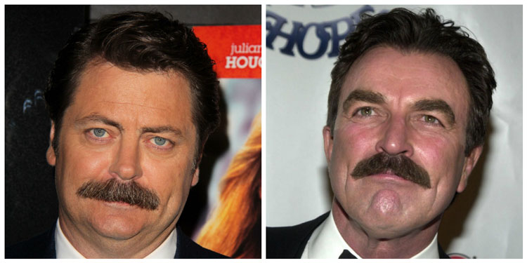 Famous Celebrity Chevron Handlebar Moustache Ideas Nick Offerman Ron Swanson Peter Selleck