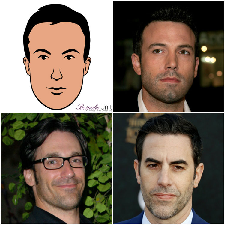 Oblong Face Shape Men Celebrities Hamm Baron Cohen Affleck