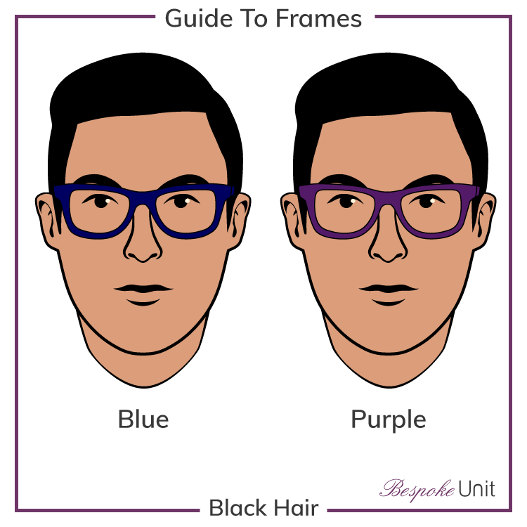 Black Hair With Blue And Purple Glasses