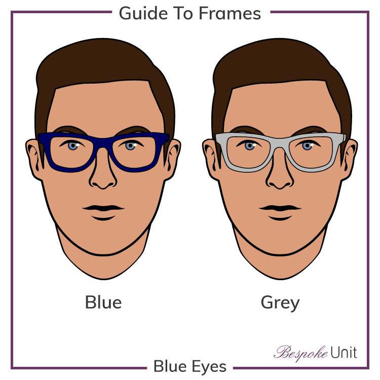 Blue Eyes With Blue And Grey Glasses