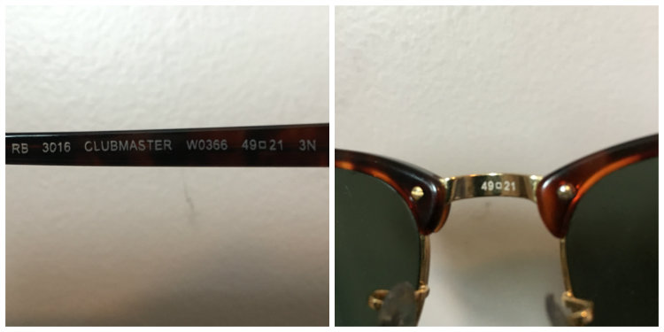 Glasses measurements on clubmasters