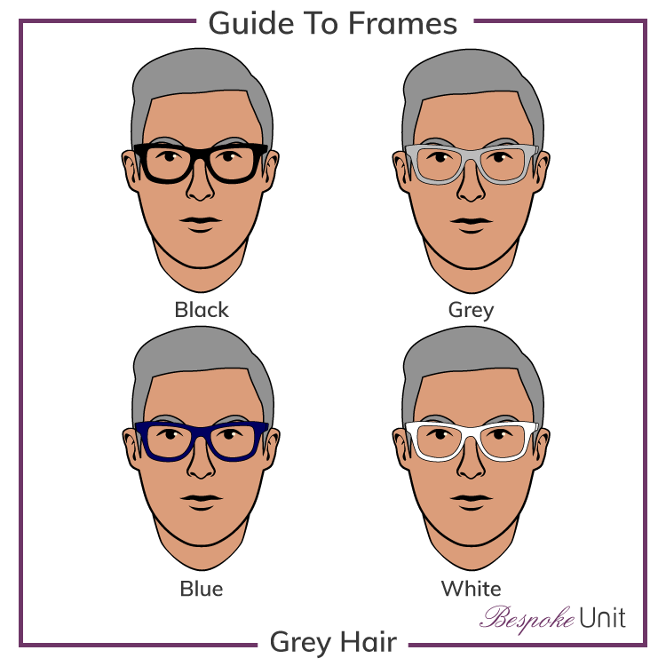 Grey Hair With Black Grey Blue And White Glasses