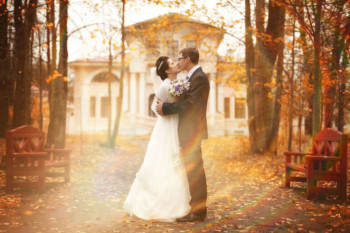 Newlyweds-Kissing-Outside-Autumn
