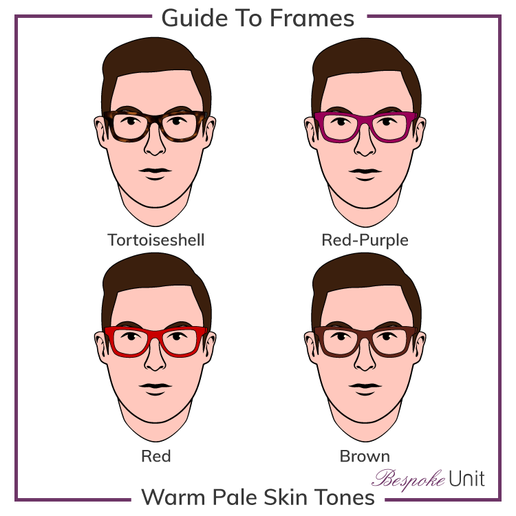 Pale Warm With Tortoiseshell Red-Purple Red And Brown Frames