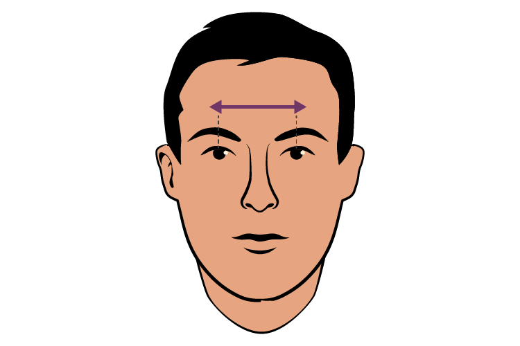 graphic showing pupillary distance on face
