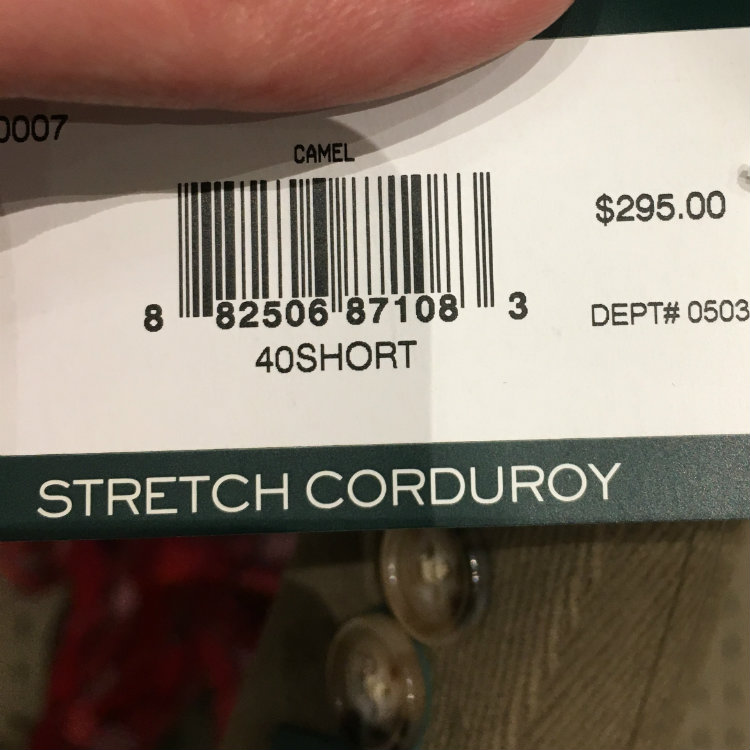 stretch corduroy jacket tag