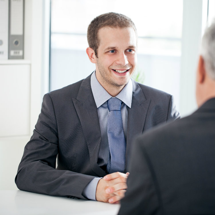 young man in job interview