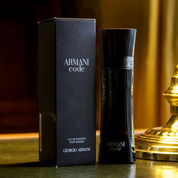Armani Code Bottle & Package On Desk